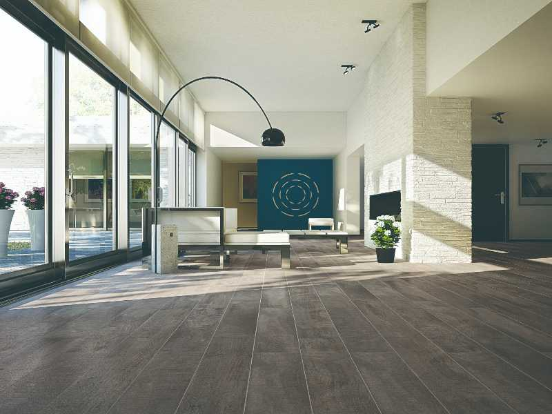 Pebble tile flooring